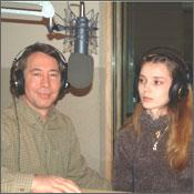 "Craig and Arina Rich in the national Public Radio studio reviewing the Russian mail order bride movie ""Birthday Girl."""