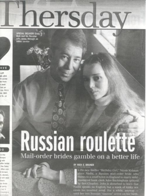 Craig and Arina Rich are featured in this new York Daily news story about Russian girls finding and marying an American or other western-oriented man.