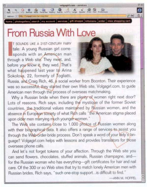 New Jersey monthly magazine featured Craig and Arina Rich, and the Russian mail order bride site A Volga Girl.