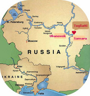 This map of Russia shows the location of Togliatti in relation to Moscow. The Russian office of A Volga Girl are situated 600 miles southeast of Moscow.